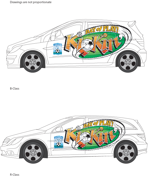 Car wraps for Kickin' Day of Play soccer in school promotion