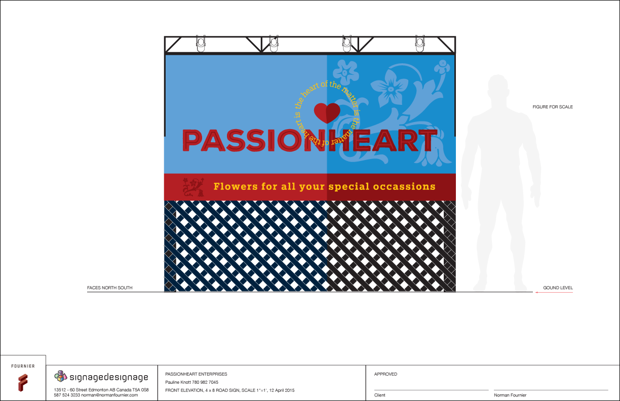 8' x 4' highway-side sign for Passionheart